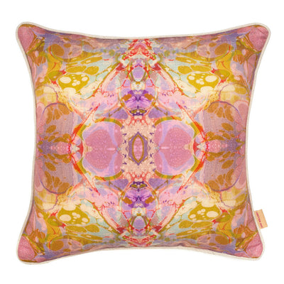 Lavender Tapestry Kaleidoscope Marbled Linen Square Cushion