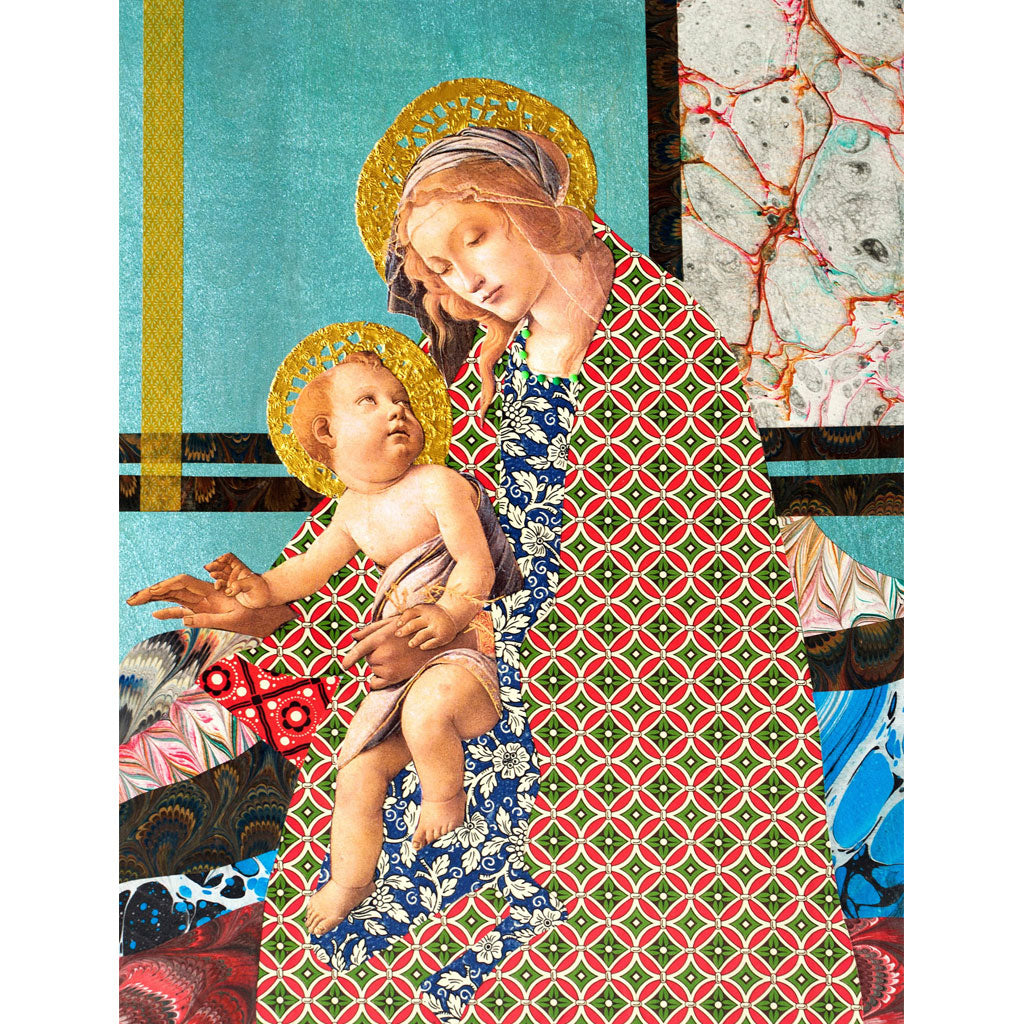 Metallic Blue Madonna Digital Print