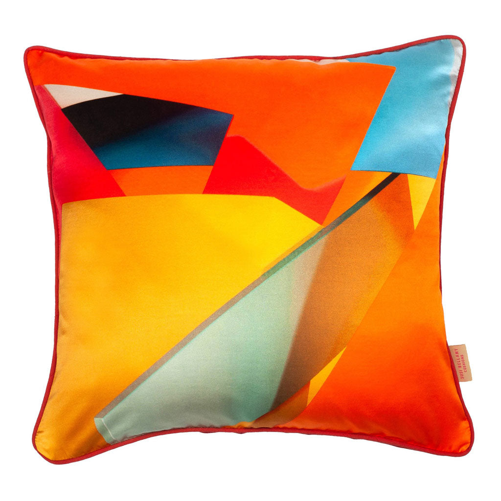 Multi Blocks Silk Cotton Square Cushion