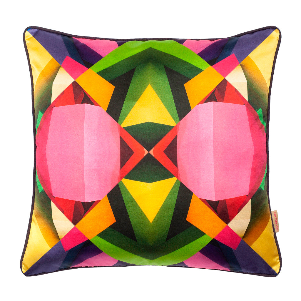 Multi Grid Block Silk Cotton Square Cushion