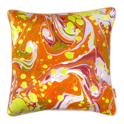 Mustard Slick Marbled Cotton Square Cushion