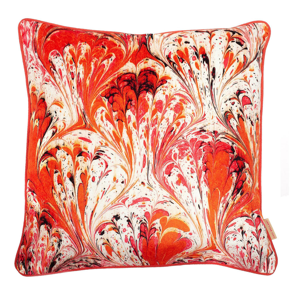 Orange Feathered Marbled Velvet Square Cushion