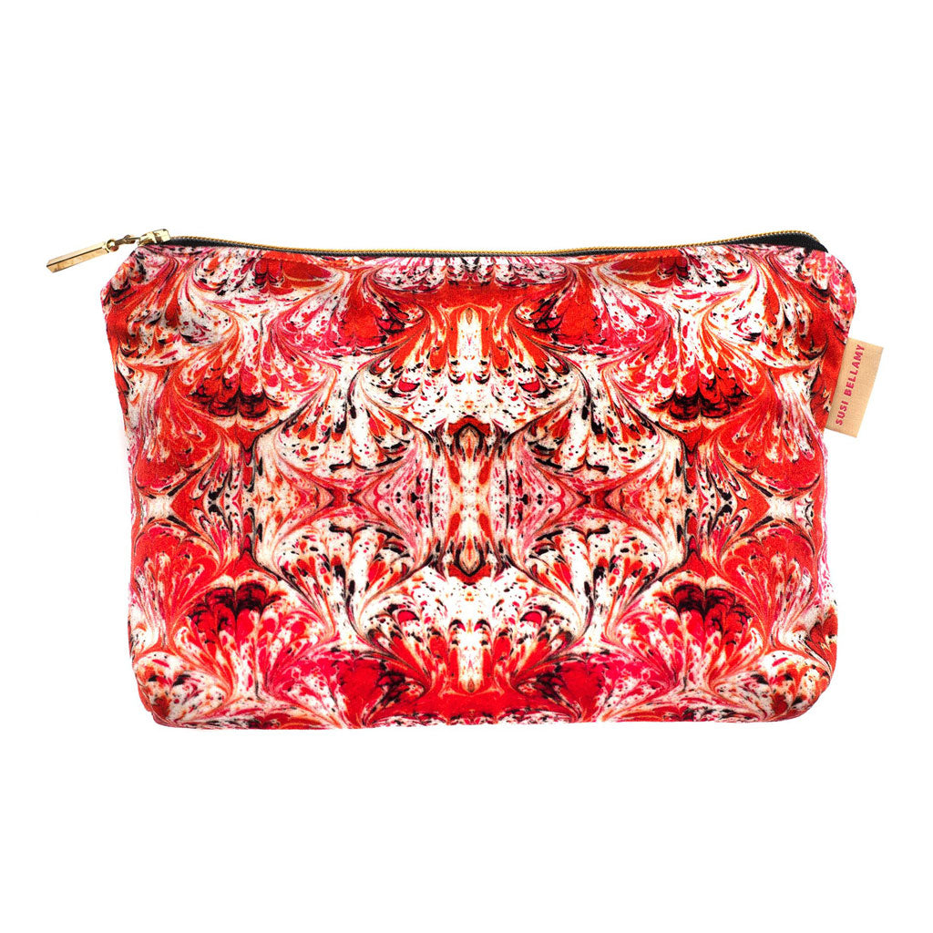 Orange Feathered Washbag