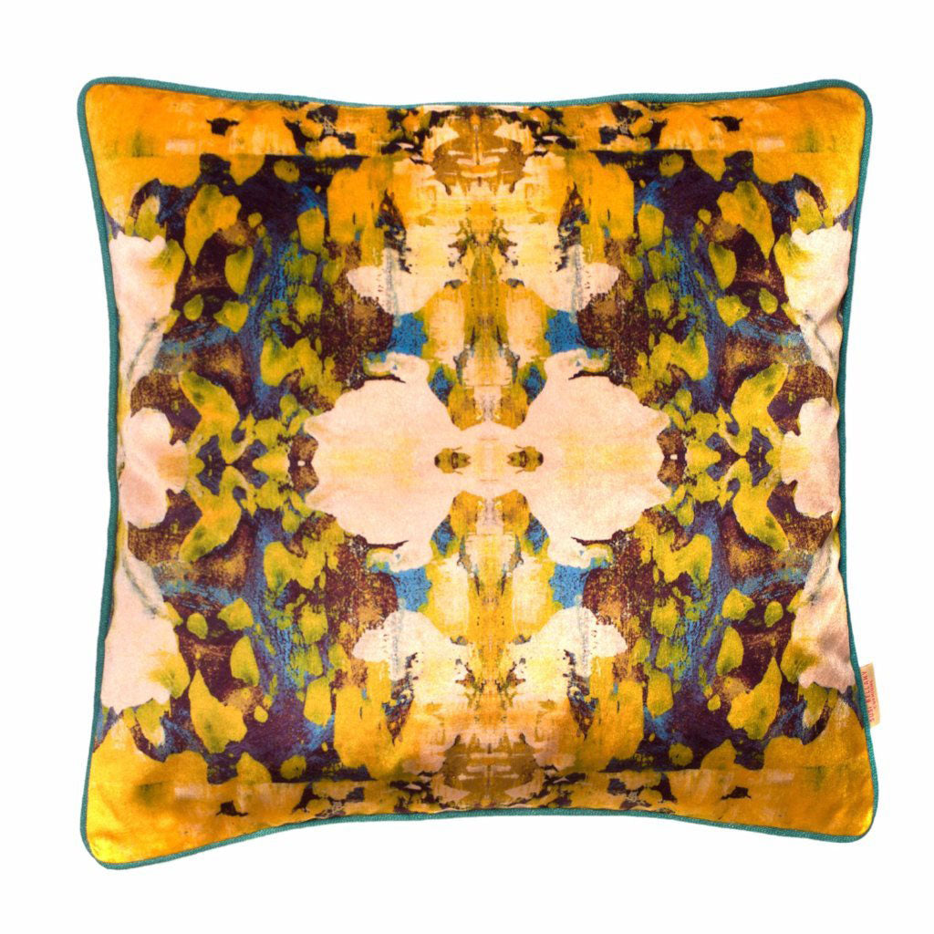 Osmosi Giallo Kaleidoscope Velvet Square Cushion