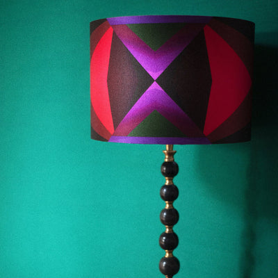 Lavender Grid Blocks Silk Cotton Lampshade