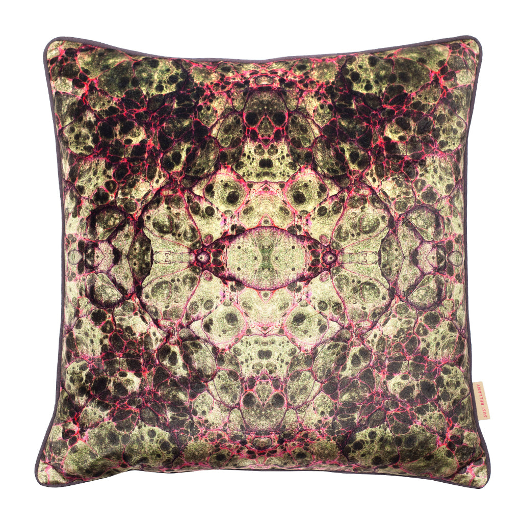 Grey Lava Kaleidoscope Marbled Velvet Square Cushion