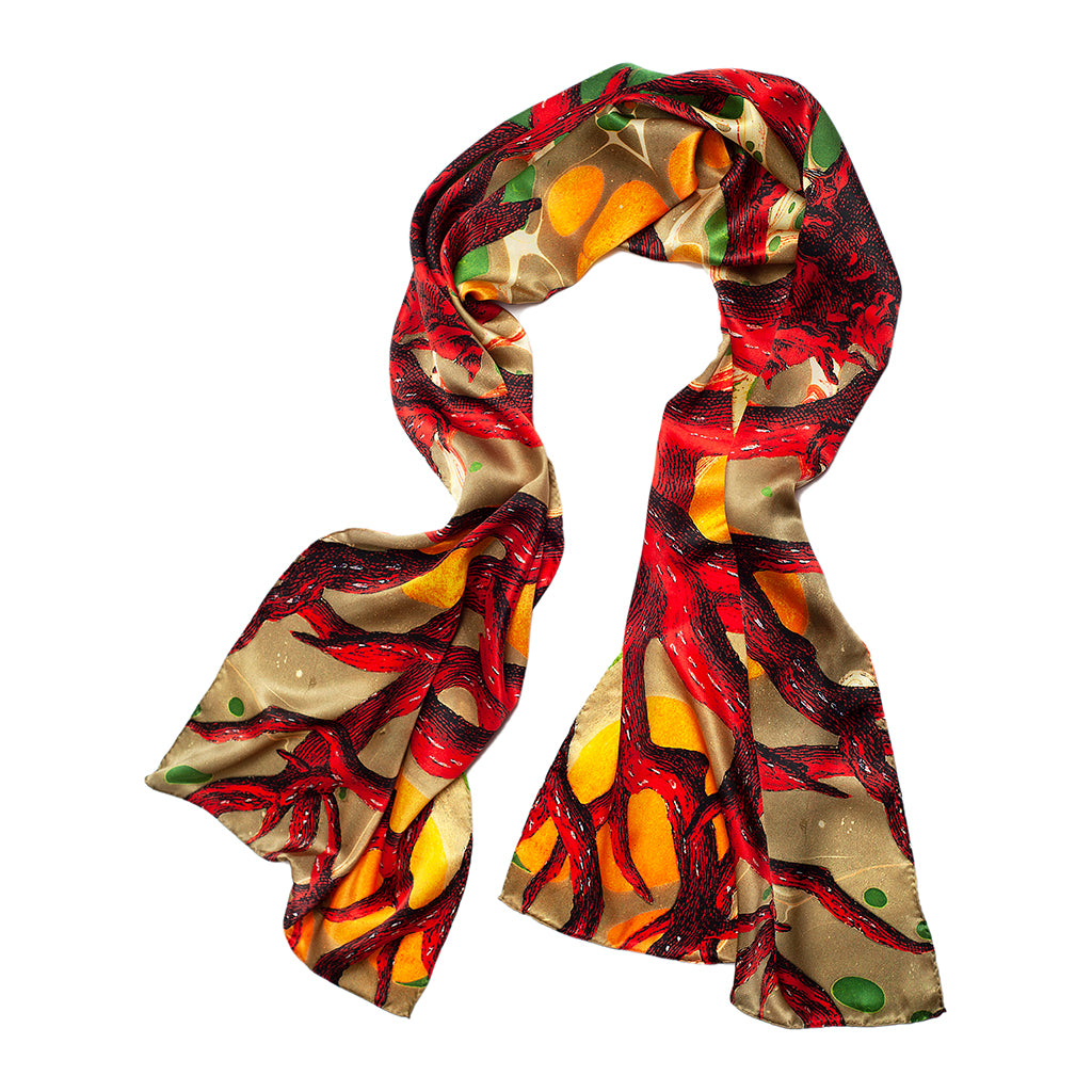 Coral Copse Long Silk Scarf