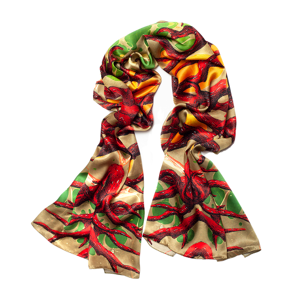 Branched Coral Wide Long Silk Scarf