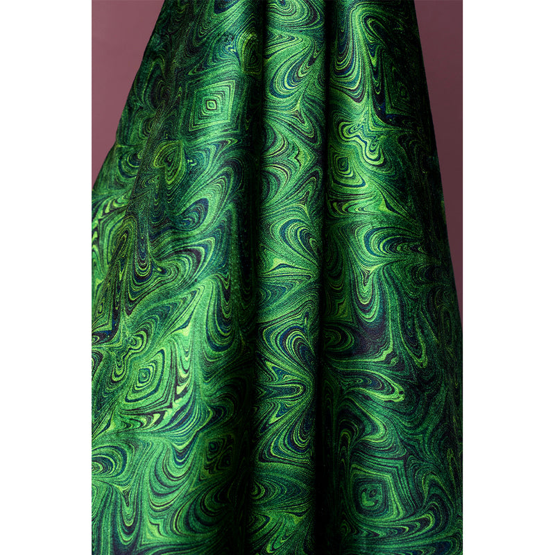 Malachite Marbled Velvet Fabric