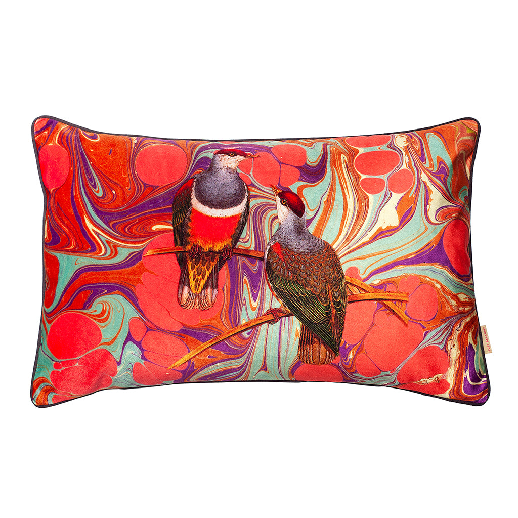 Orange Swirl Birds Collage Velvet Large Oblong Cushion