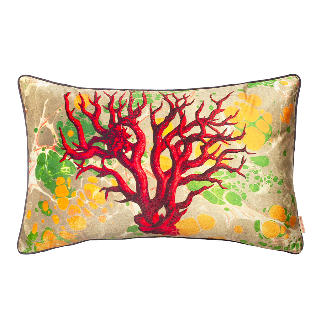 Marbled Coral Velvet Large Oblong Cushion