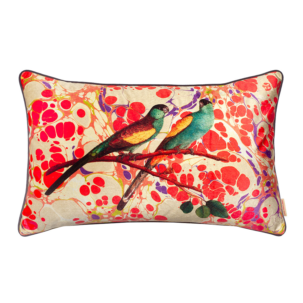 Marbled Love Birds Collage Velvet Large Oblong Cushion