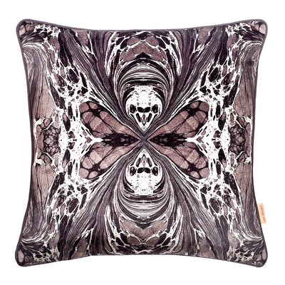 Grey Fantasy Mirror Marbled Velvet Square Cushion