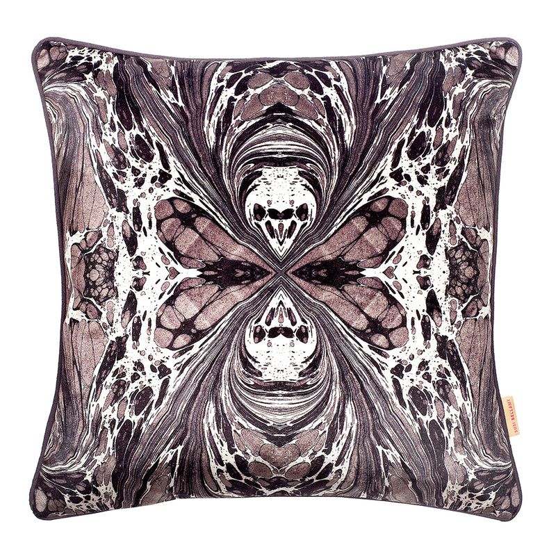 Grey Fantasy Marbled Velvet Square Cushion