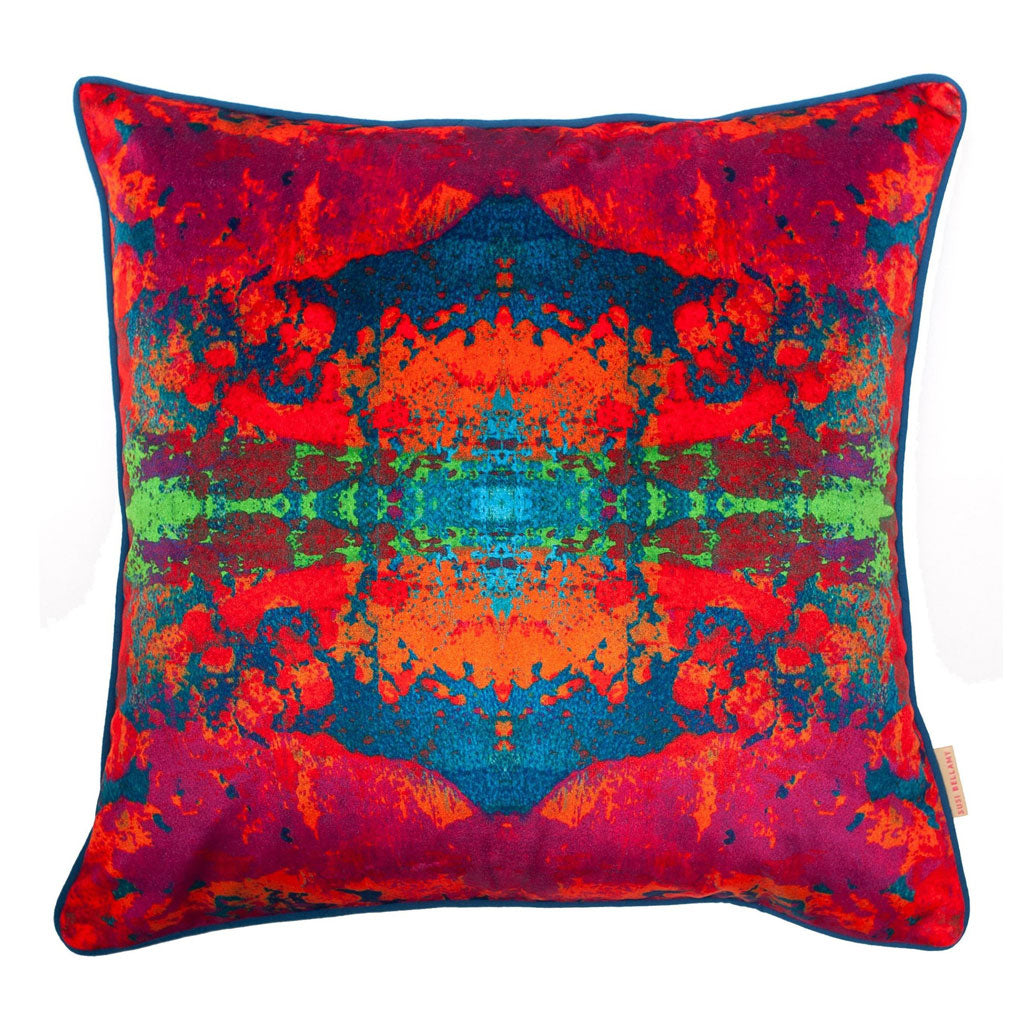 Paesaggio Scarlatto Kaleidoscope Abstract Velvet Square Cushion