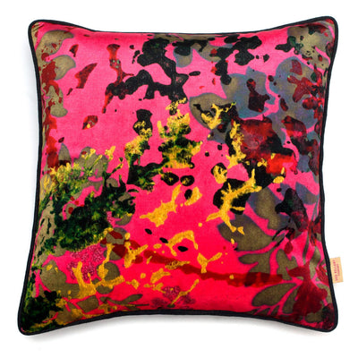Pink Foliage Abstract Velvet Square Cushion