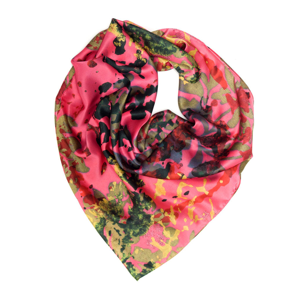 Pink Foliage Square Silk Scarf