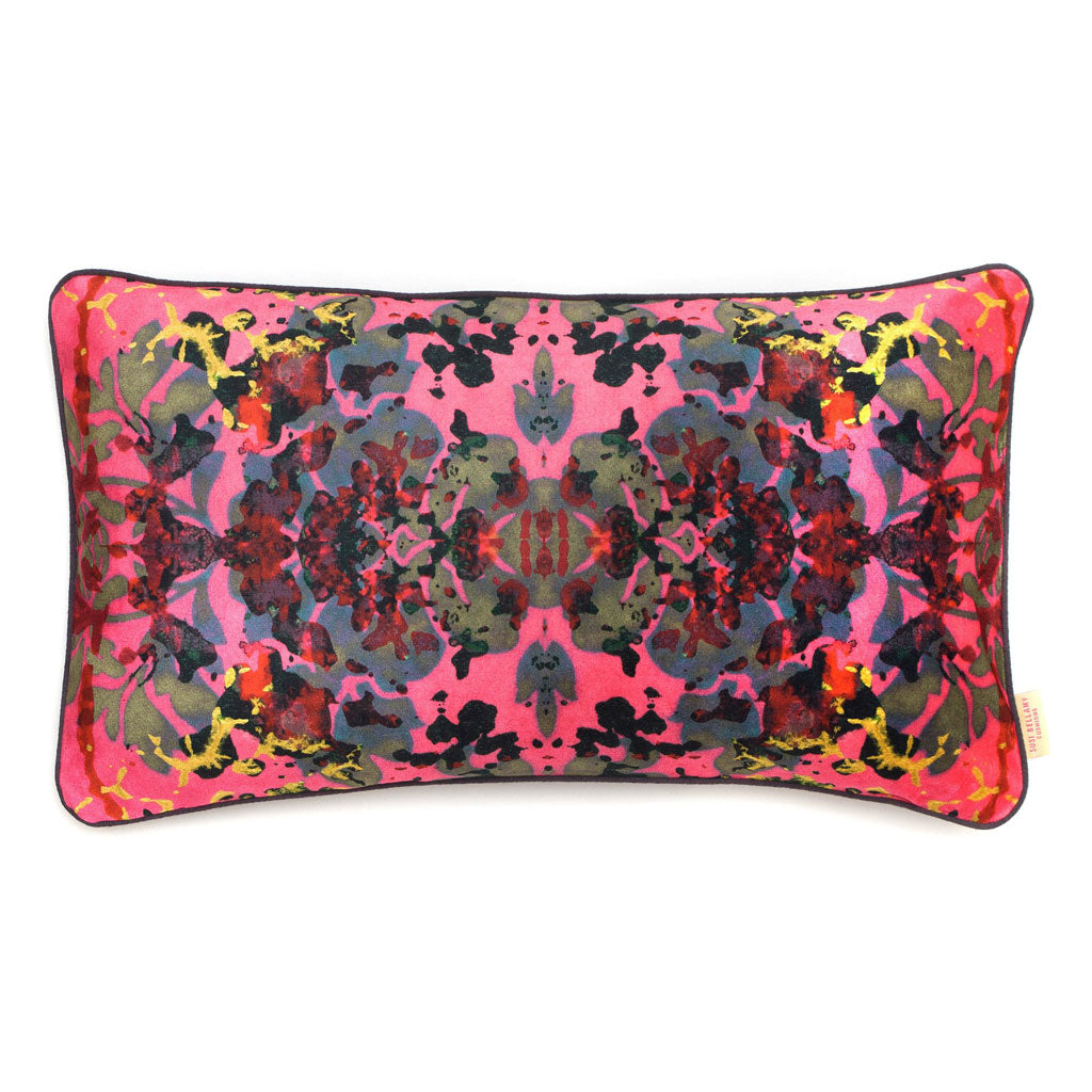 Pink Rose Kaleidoscope Abstract Velvet Medium Oblong Cushion
