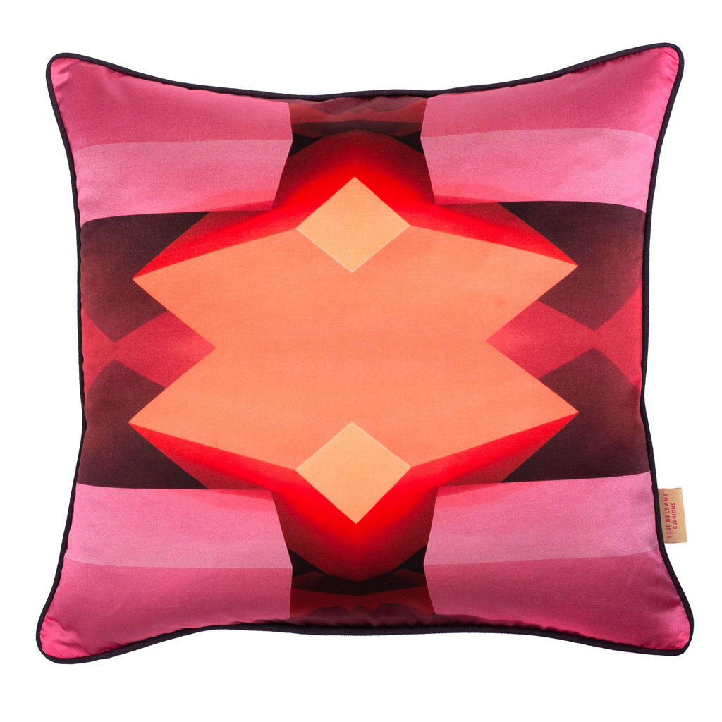 Pink Star Silk Cotton Square Cushion