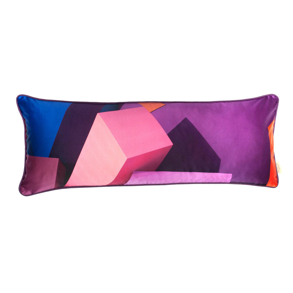 Purple Blocks Long Oblong Silk Cotton Cushion