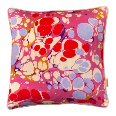 Raspberry Blobby Marbled Cotton Square Cushion