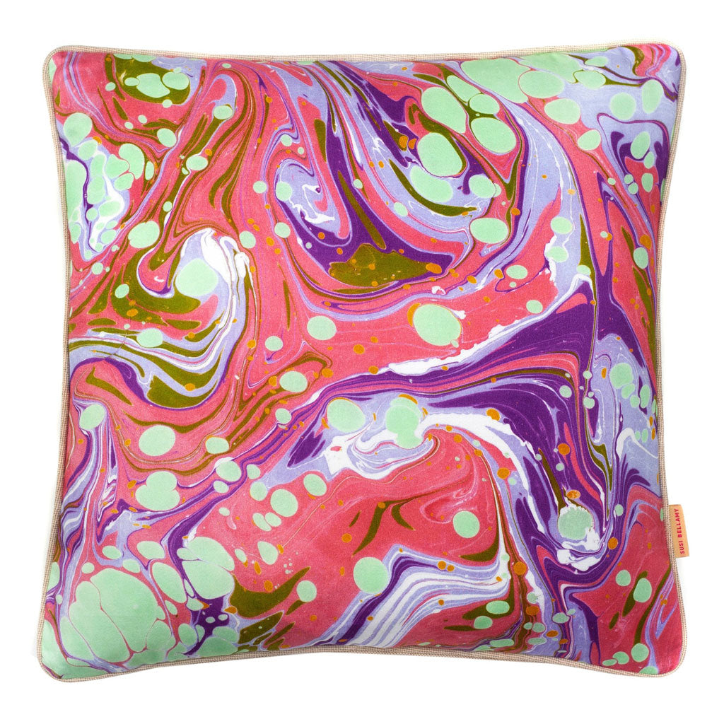 Raspberry Slick Marbled Cotton Square Cushion