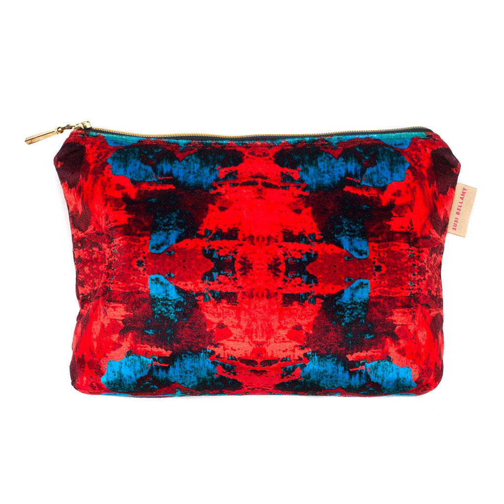 Red Blue Geode Pouch