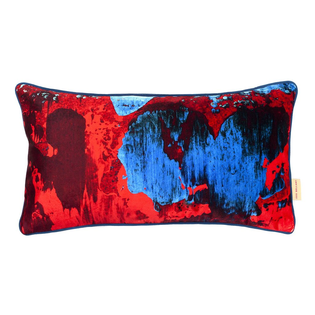 Red/Blue Geode Medium Oblong Velvet Cushion