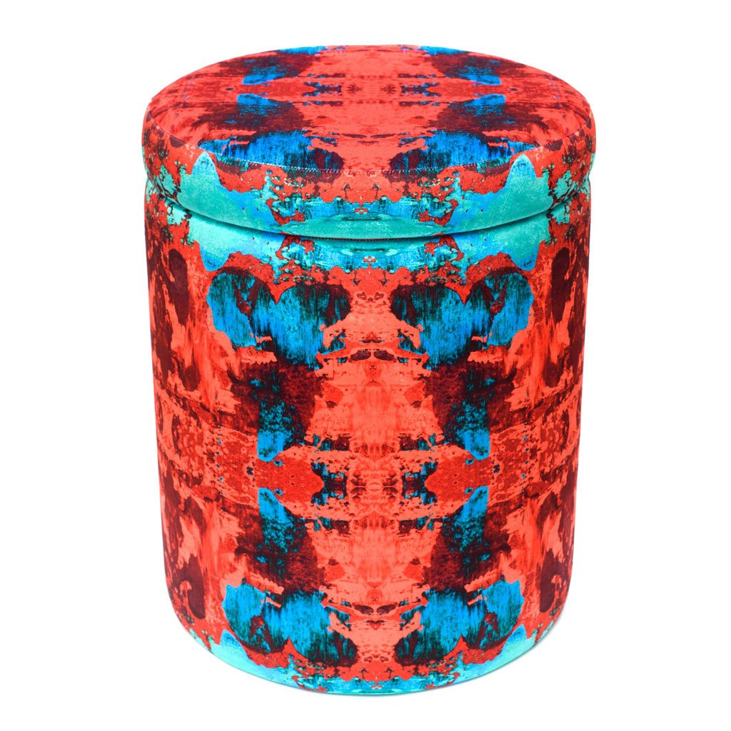 Red/Blue Geode Velvet Stool