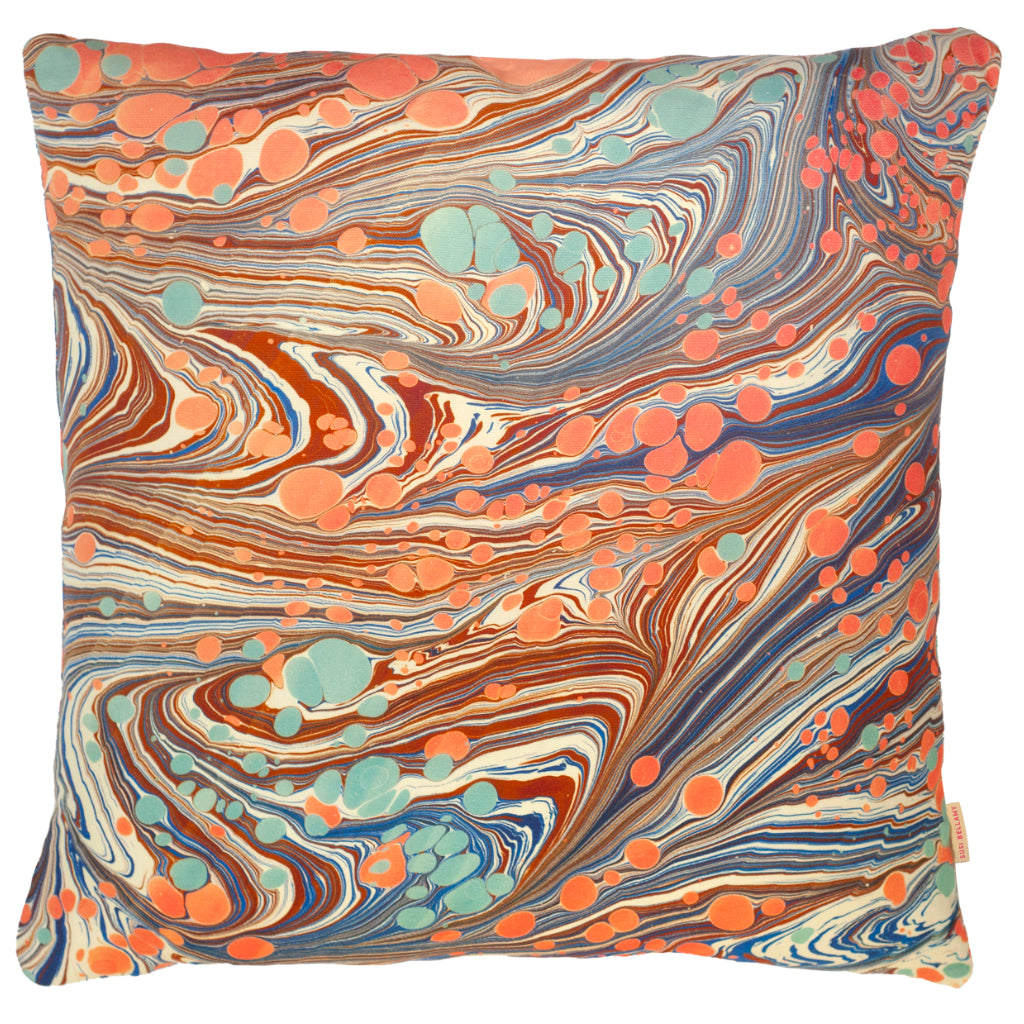 Sea Swirl Double-Sided Linen Large Square Cushion