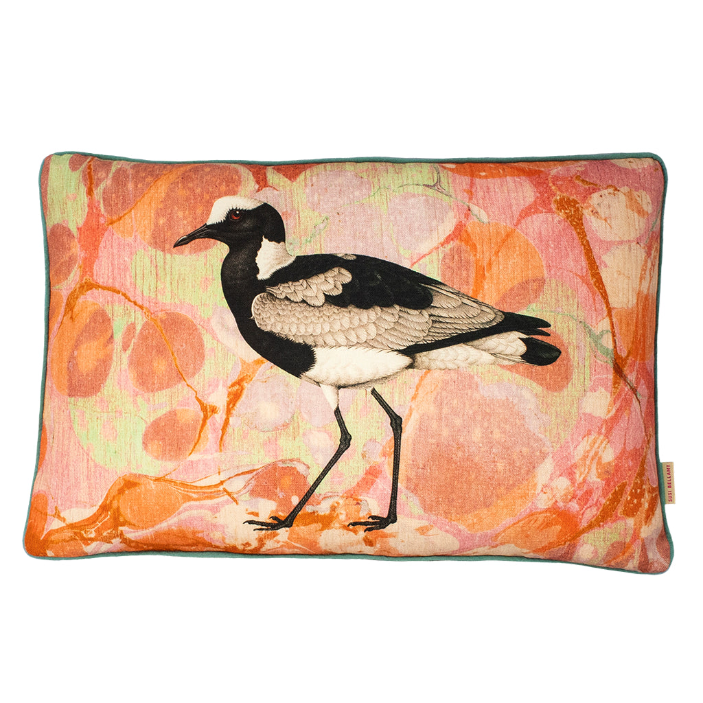 Coral Tapestry Sea Bird Linen Large Oblong Cushion