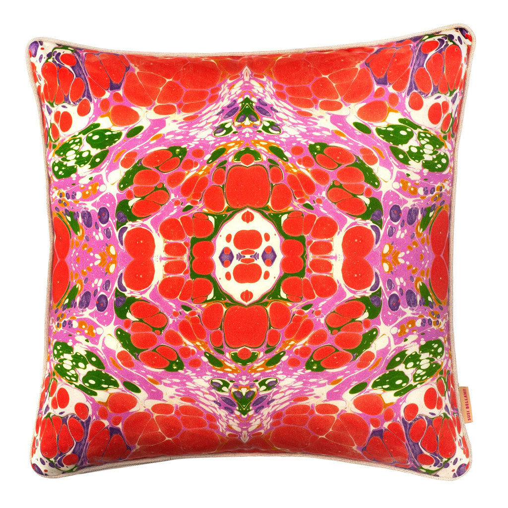 Tyrolean Kaleidoscope Marbled Cotton Square Cushion