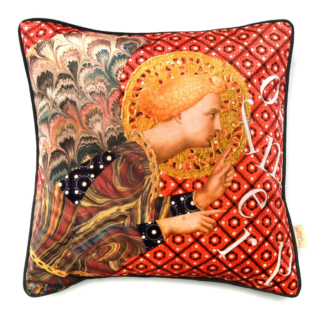 Whispering Angel Collaged Velvet Square Cushion
