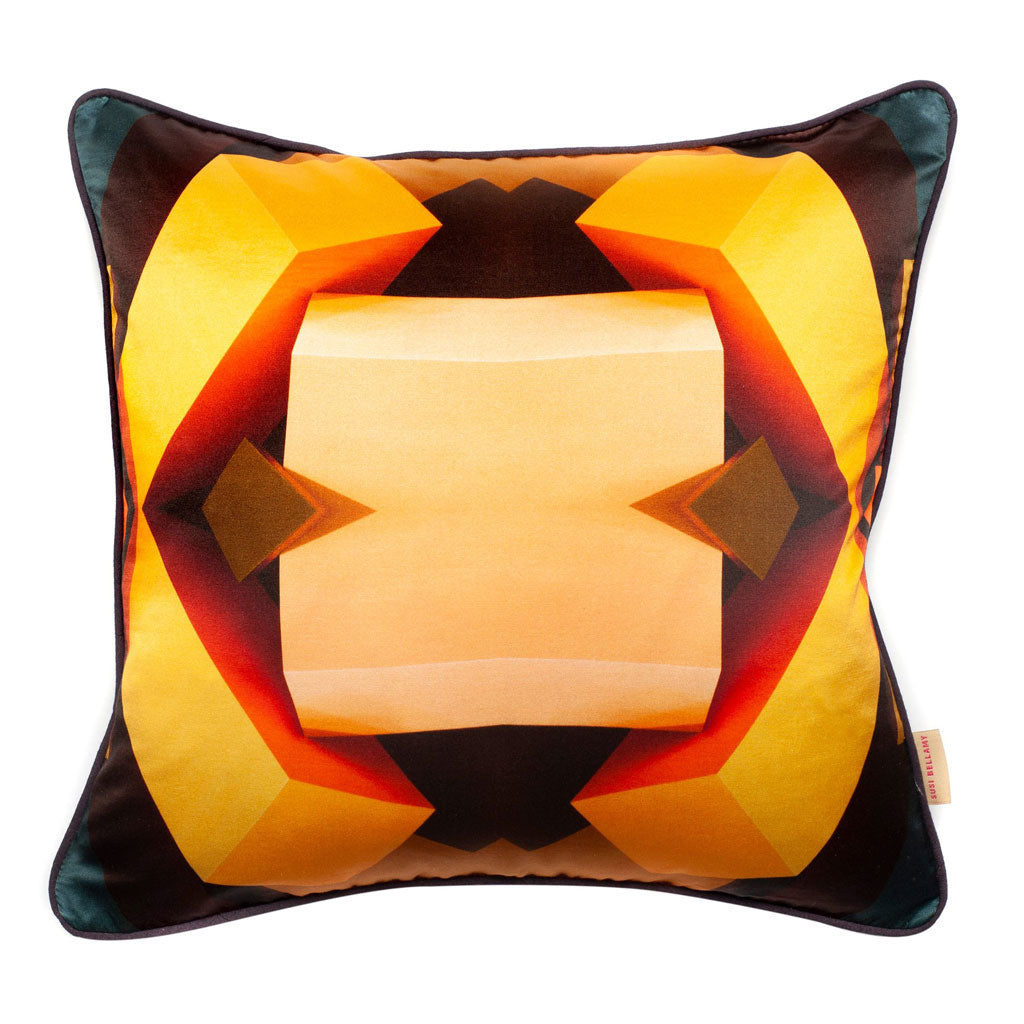 Yellow Kaleidoscope Blocks Silk Cotton Square Cushion
