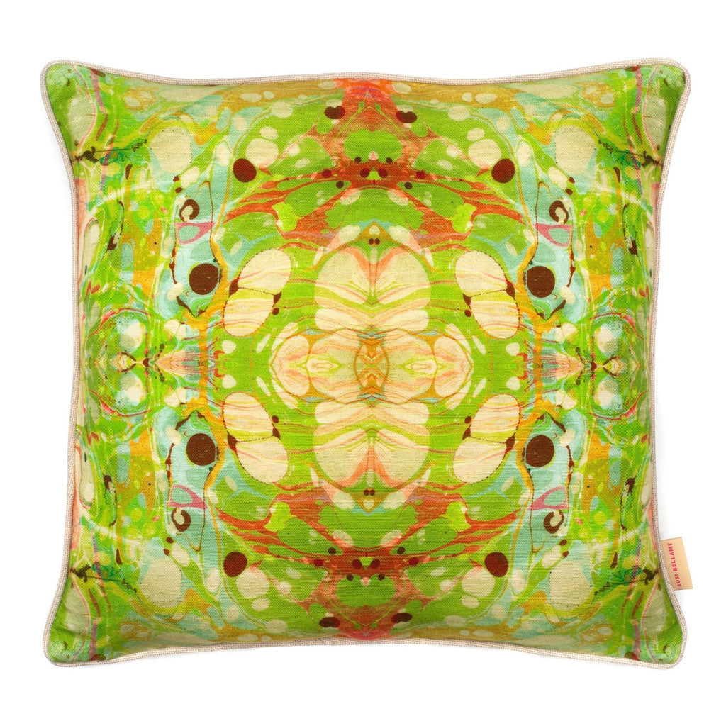 Yellow Ripple Kaleidoscope Marbled Linen Square Cushion
