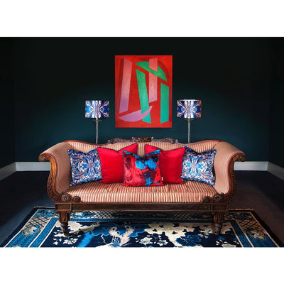 Red/Blue Geode Abstract Velvet Square Cushion