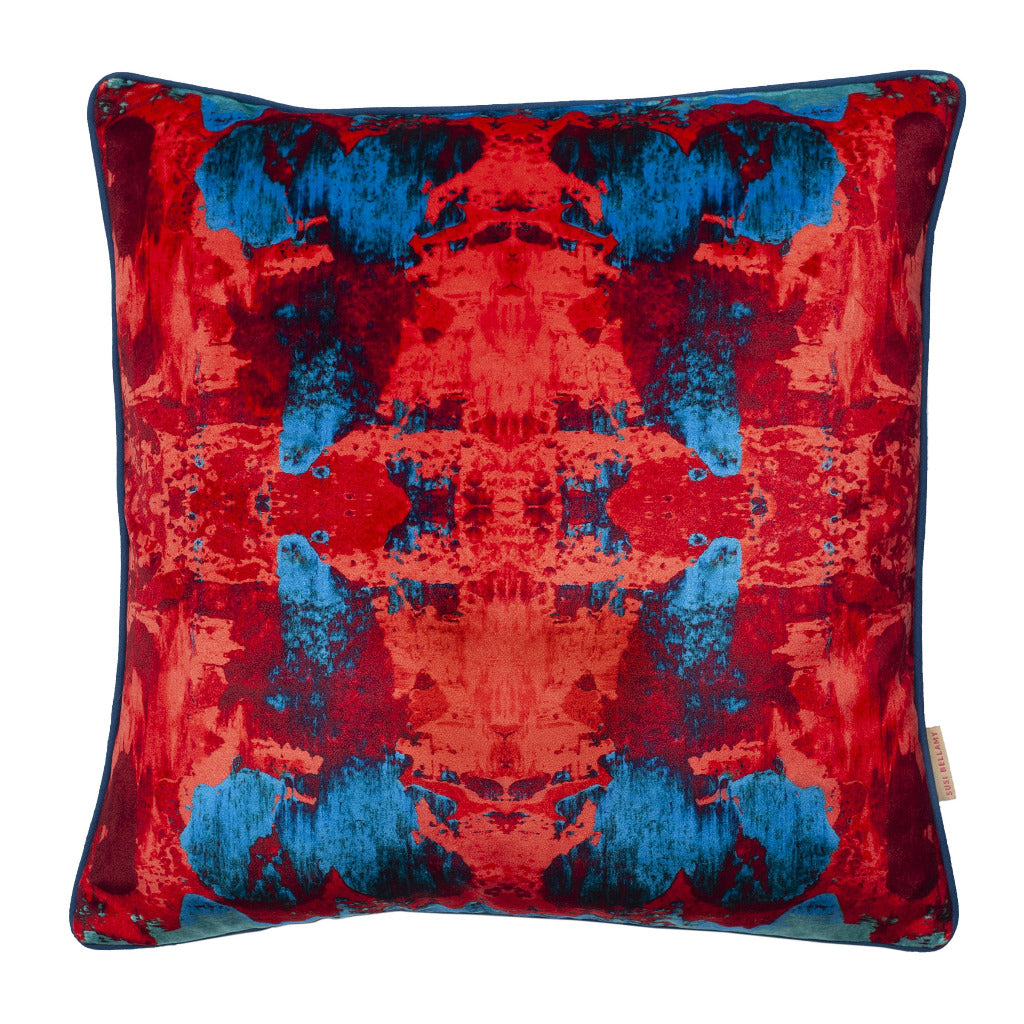 Red Blue Geode Kaleidoscope Velvet Square Cushion
