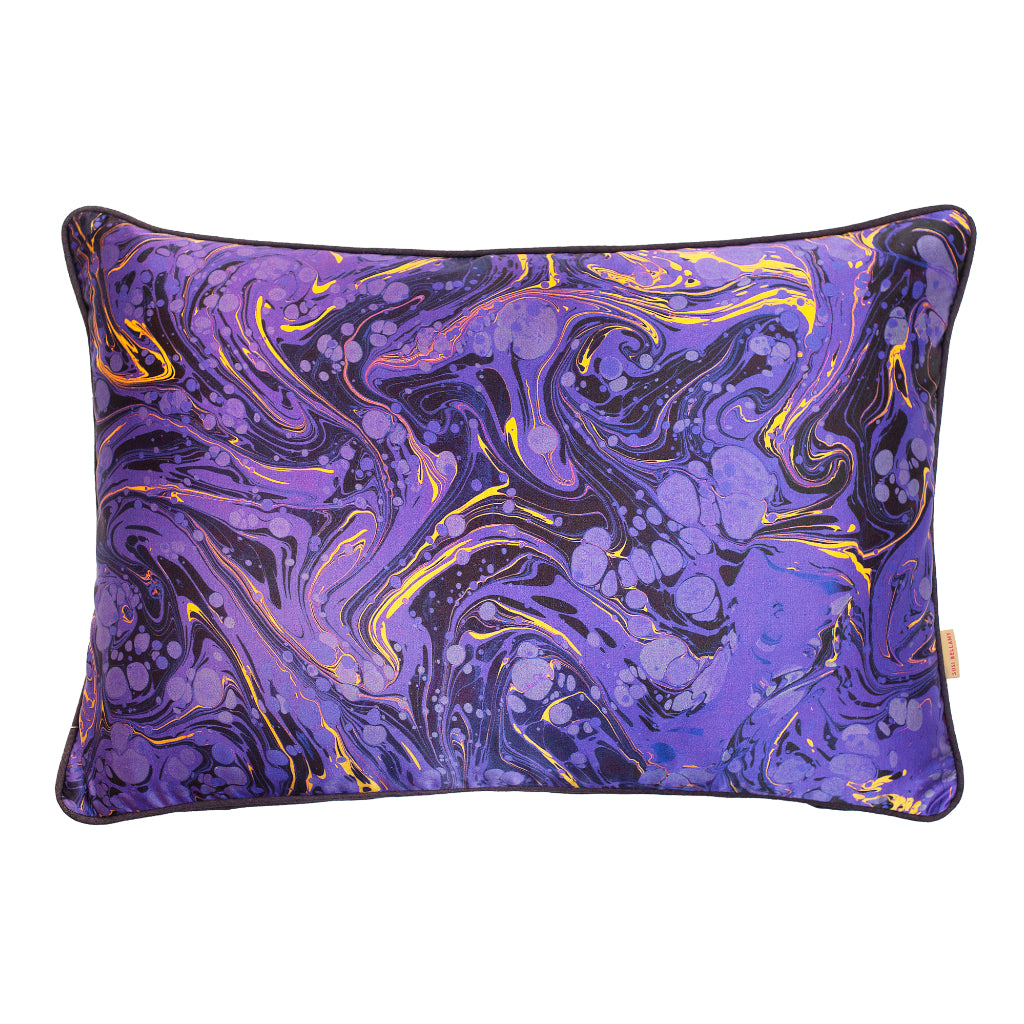 Amethyst Marbled Silk Large Oblong Cushion
