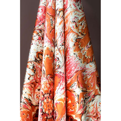 Orange Feathered Fabric