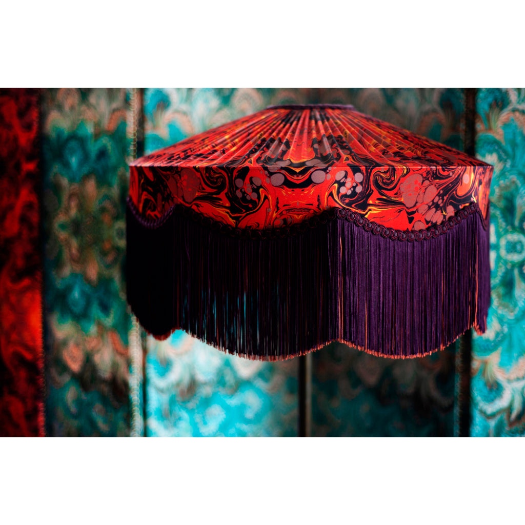 X BeauVamp Carnelian Marbled Satin Lampshade