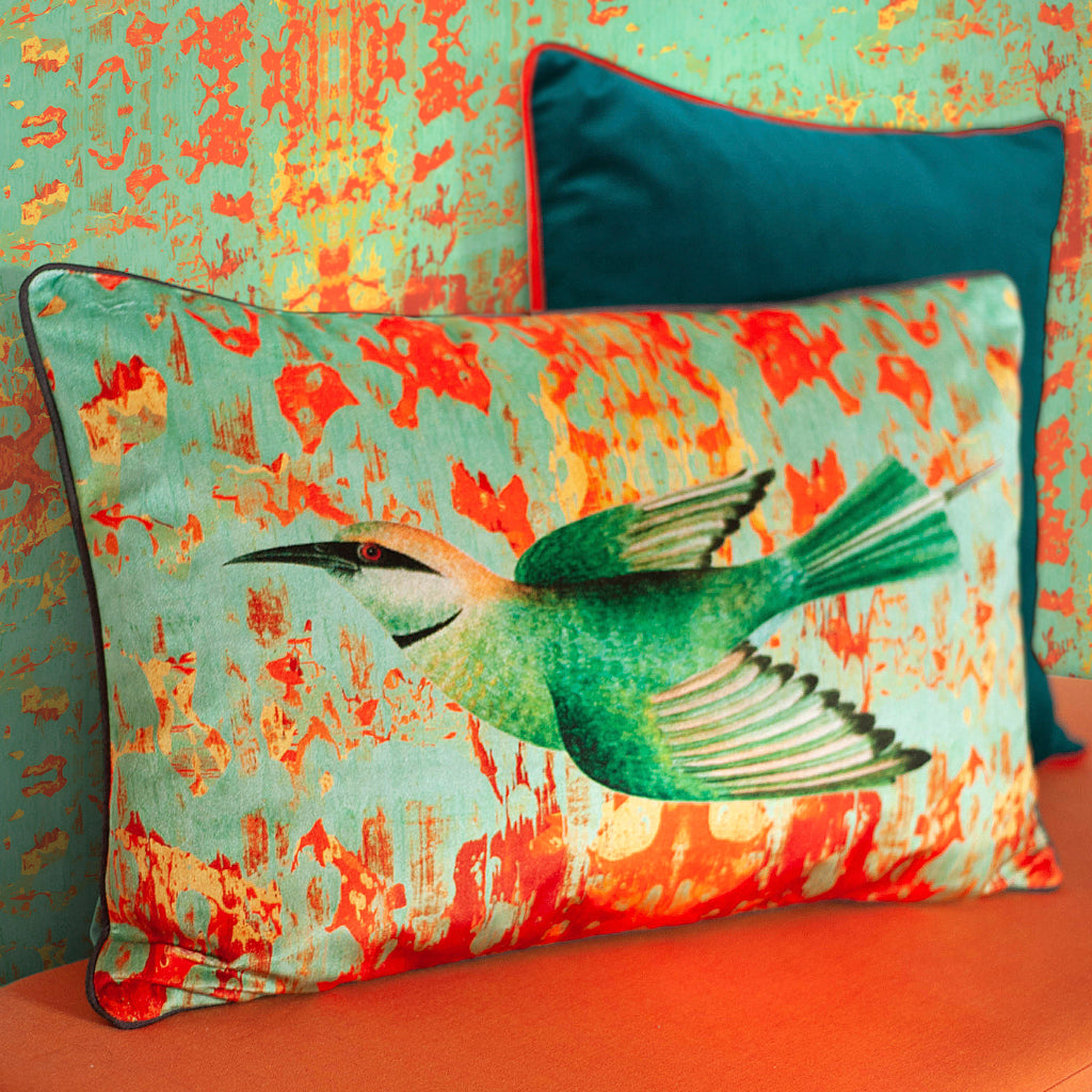 Little Bee-Eater Velvet Large Oblong Cushion
