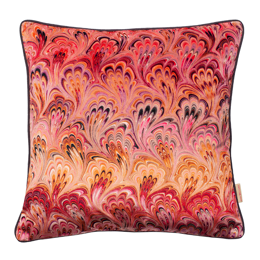 Blush Bouquet Marbled Velvet Square Cushion