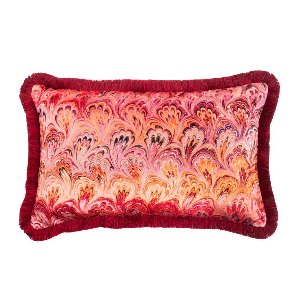 Ruched Blush Bouquet Marbled Velvet Large Oblong Cushion