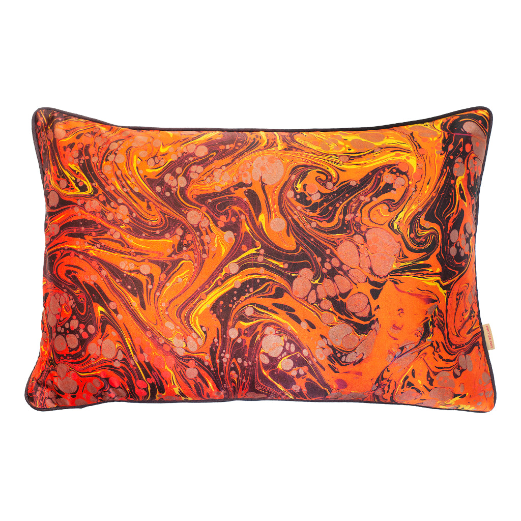 Carnelian Marbled Silk Large Oblong Cushion