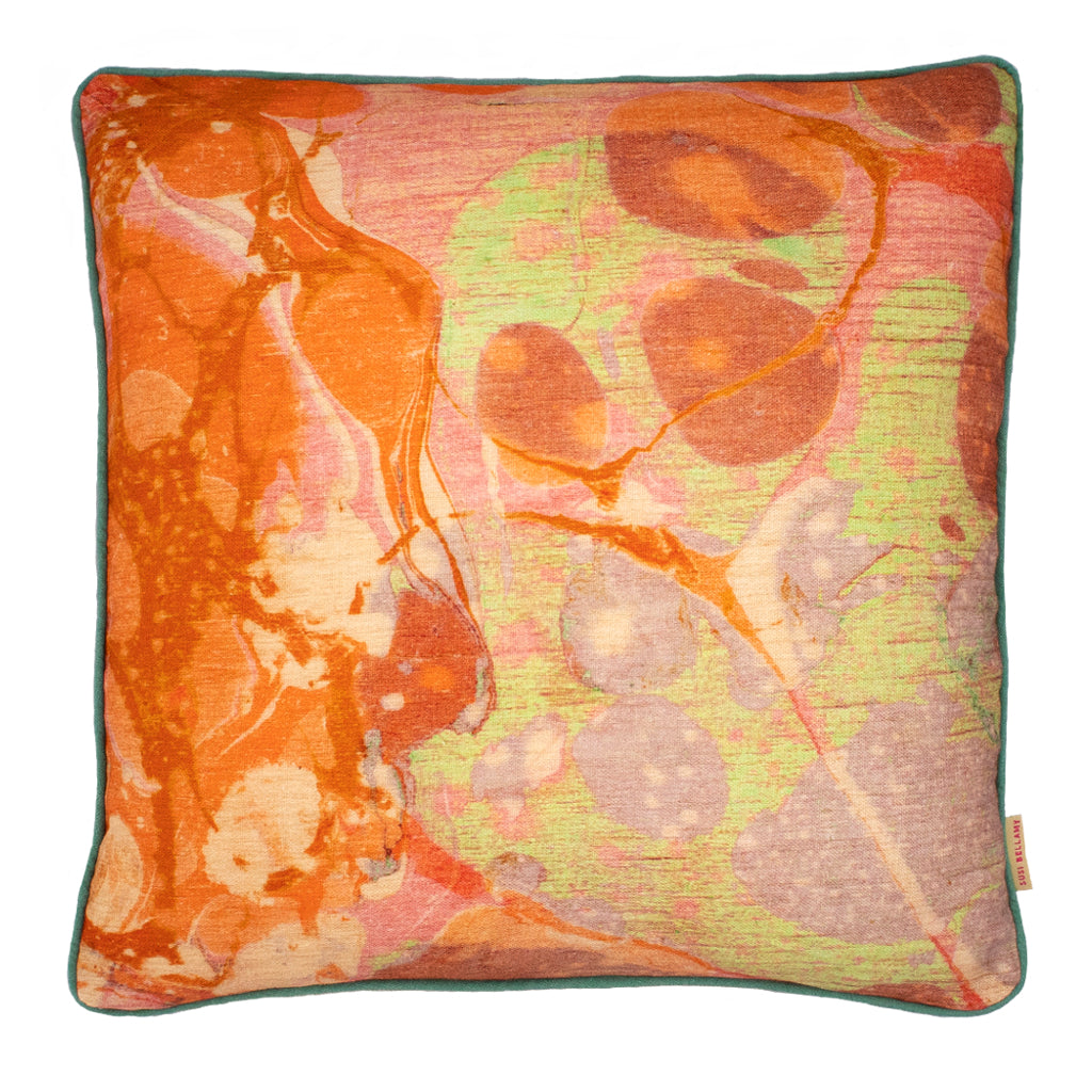 Coral Tapestry Marbled Linen Square Cushion