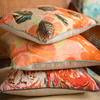 Coral Tapestry Shells Linen Small Square Cushion