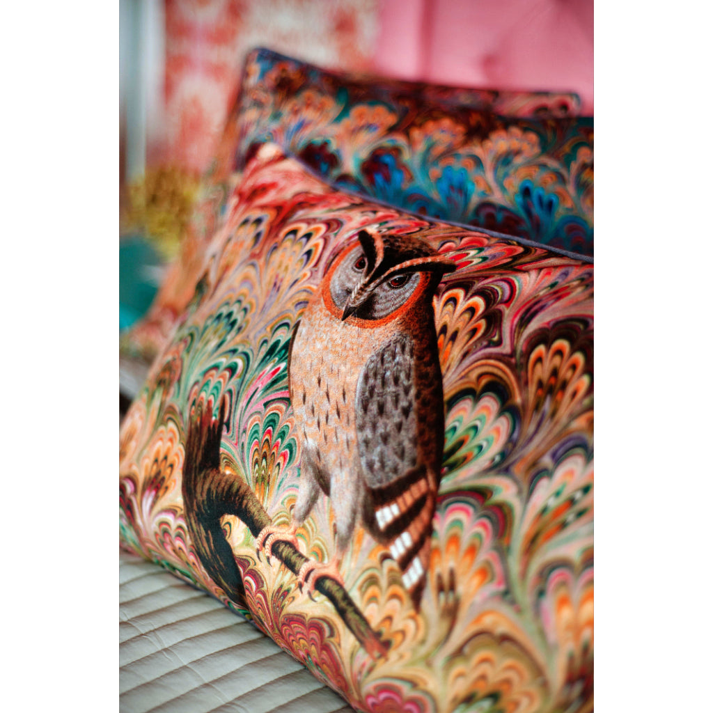 Bouquet Scops Owl Velvet Large Oblong Cushion