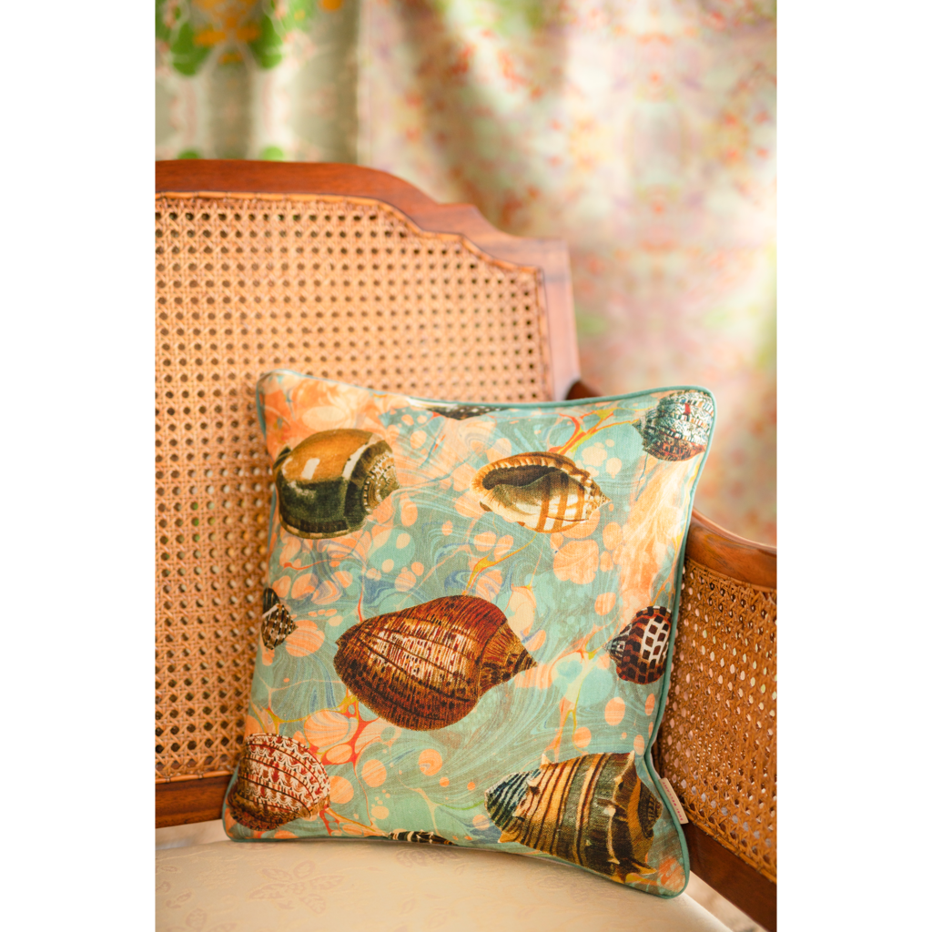 Fantasy Tapestry Shells Linen Square Cushion