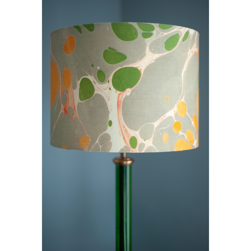 Grey Marbled Linen Lampshade