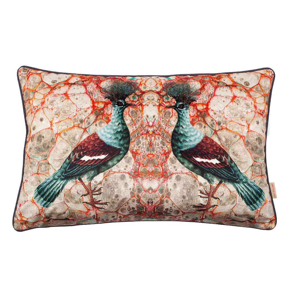 Grigia Twin Crowned Pigeon Velvet Large Oblong Cushion